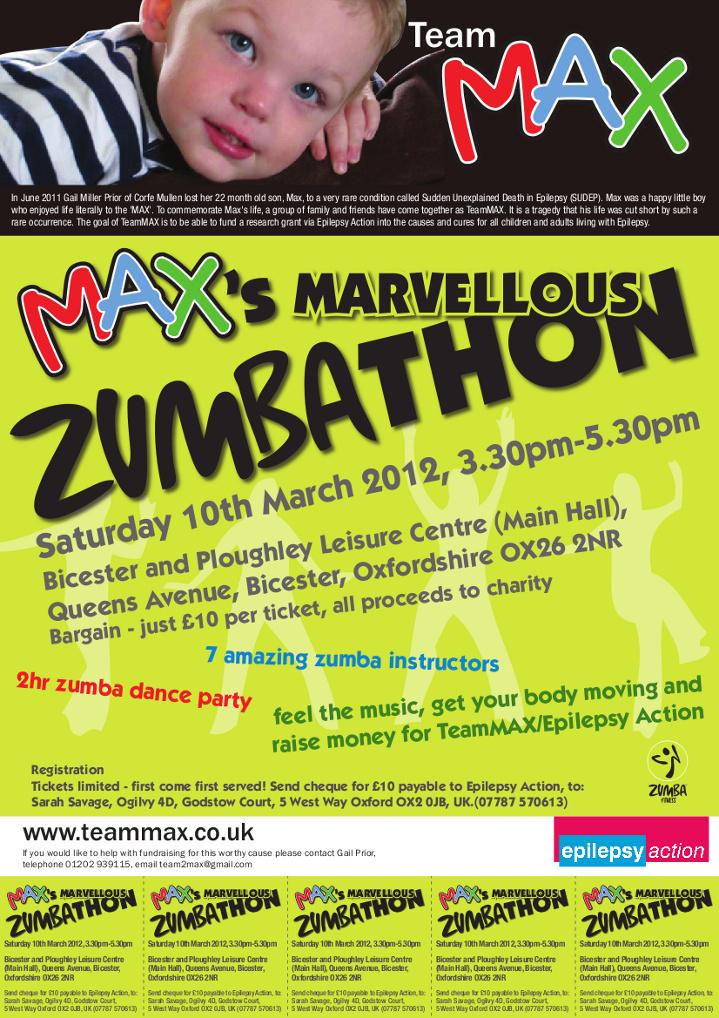 Zumbathon Poster Max's Marvellous Zumba...